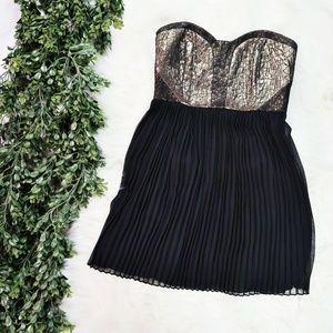 Greylin Metallic Corset Bodice Pleated Party Dress